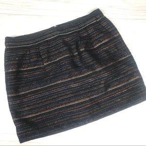 J. Crew Black Mini Skirt with Metallic Stripes